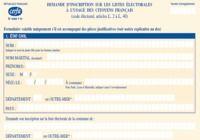Formulaire d'inscription sur les listes éléctorales pour mac