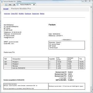 Exemple facture excel 2007 for Logiciel facturation garage