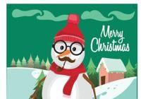 Carte de Noël 2018 avec bonhomme de neige au format Word pour mac