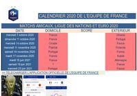 Equipe de France Calendrier 2020