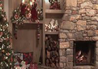 Fond d'écran animé feu de cheminée Noël