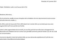 lettre resiliation OVH hausse TVA