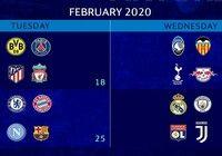 Calendrier Ligue des champions Huitièmes de finale (2019-2020)